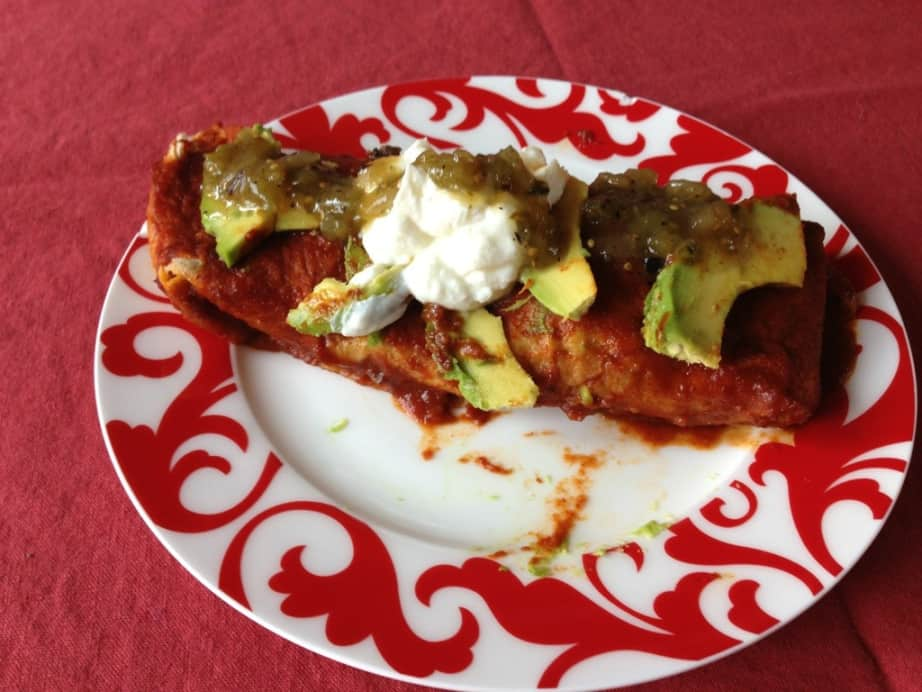 clean eating enchiladas with homemade red sauce