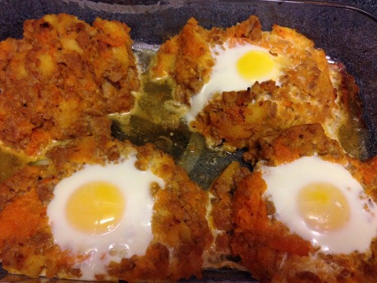 paleo squash and sausage bake with egg