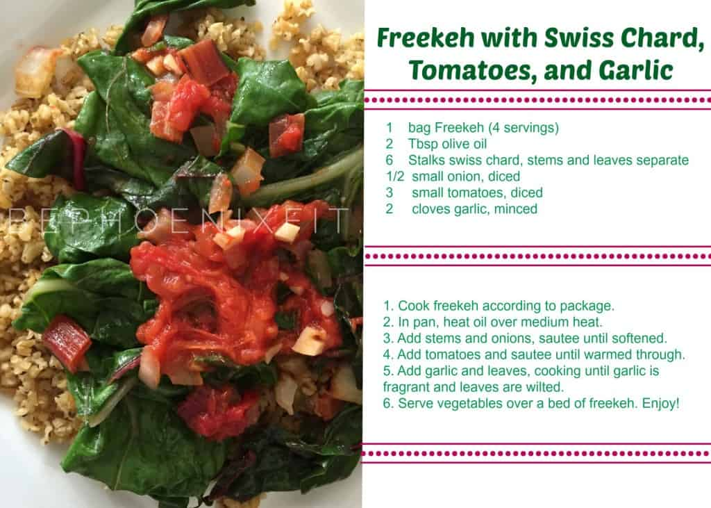 Freekeh and Swiss Chard Recipe card
