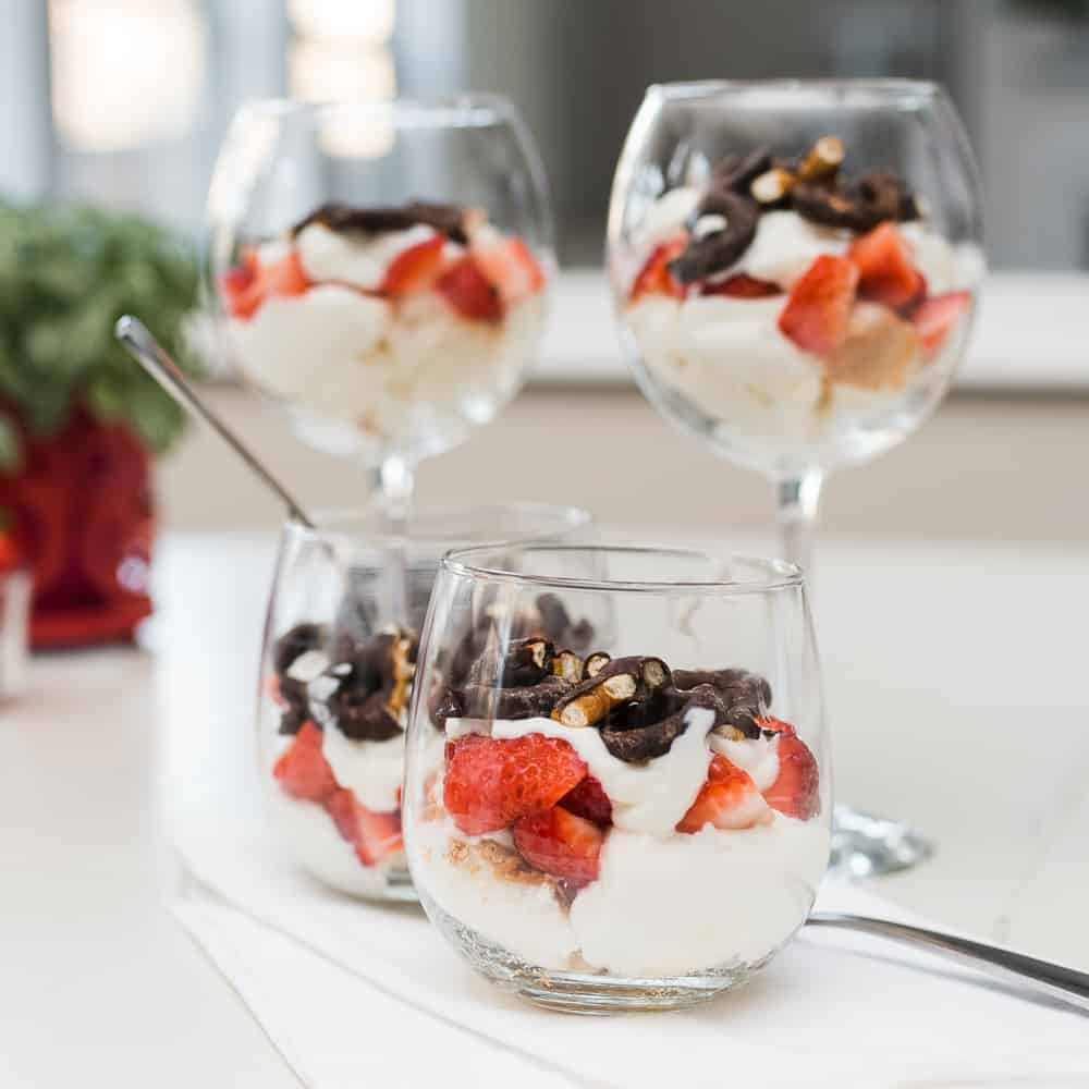 Valentine's Day parfait in wine glasses