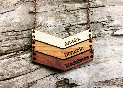 handmade wooden chevron mama necklace