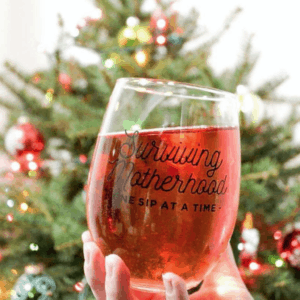 surviving motherhood one sip at a time stemless wine glass