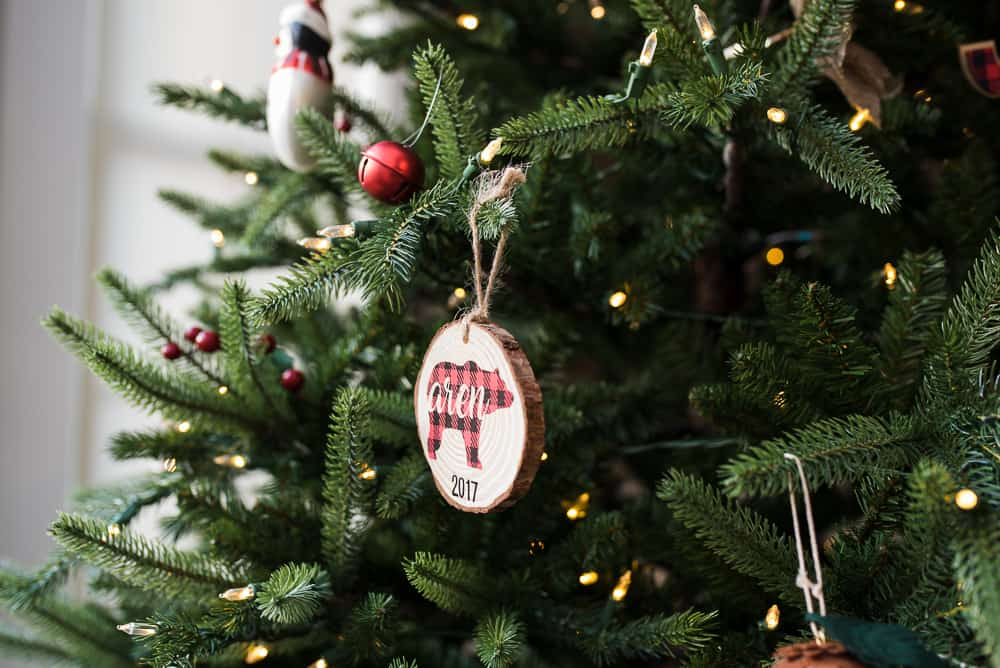 wood ornaments to safely decorate christmas tree with toddlers