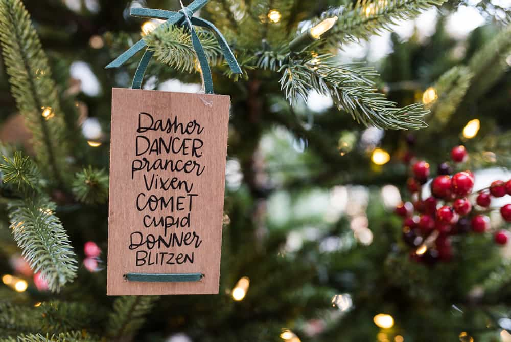 wooden ornaments to safely decorate christmas tree with toddlers