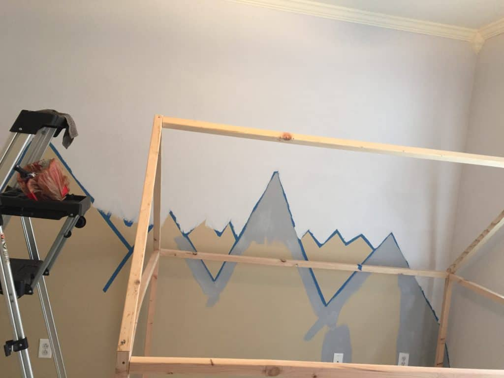 How to DIY mountain wall mural for mountain themed nursery