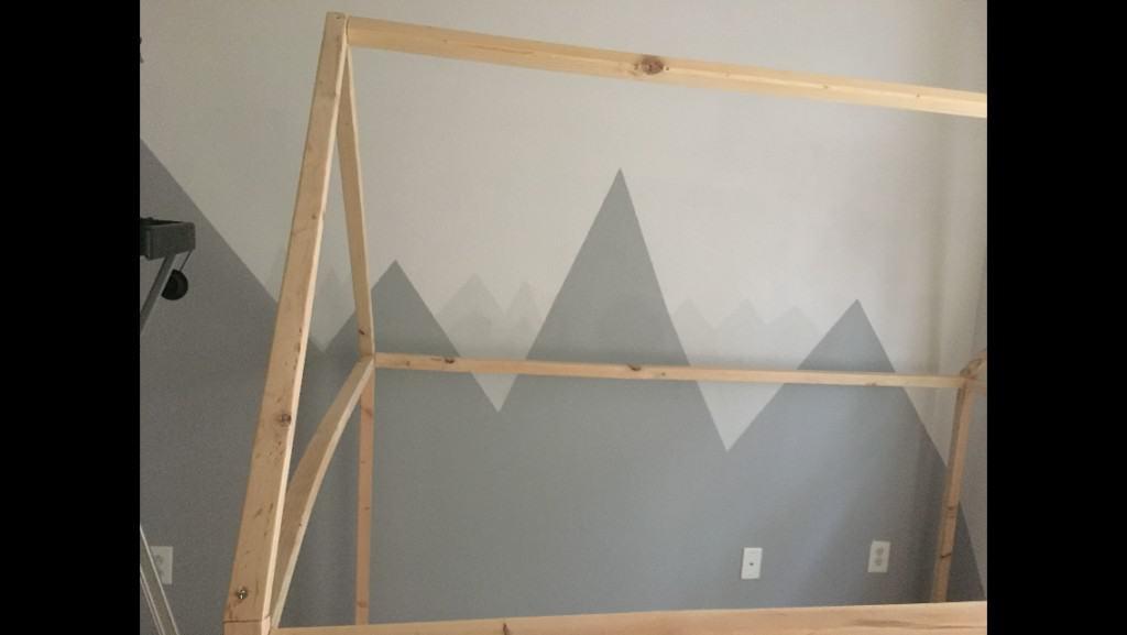 DIY mountain themed nursery with mountain wall mural