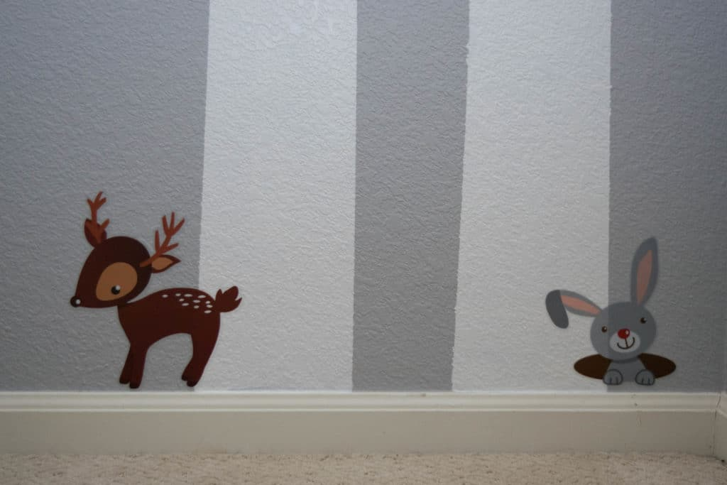 Easy DIY woodland baby nursery with tree wall mural and woodland animal decals