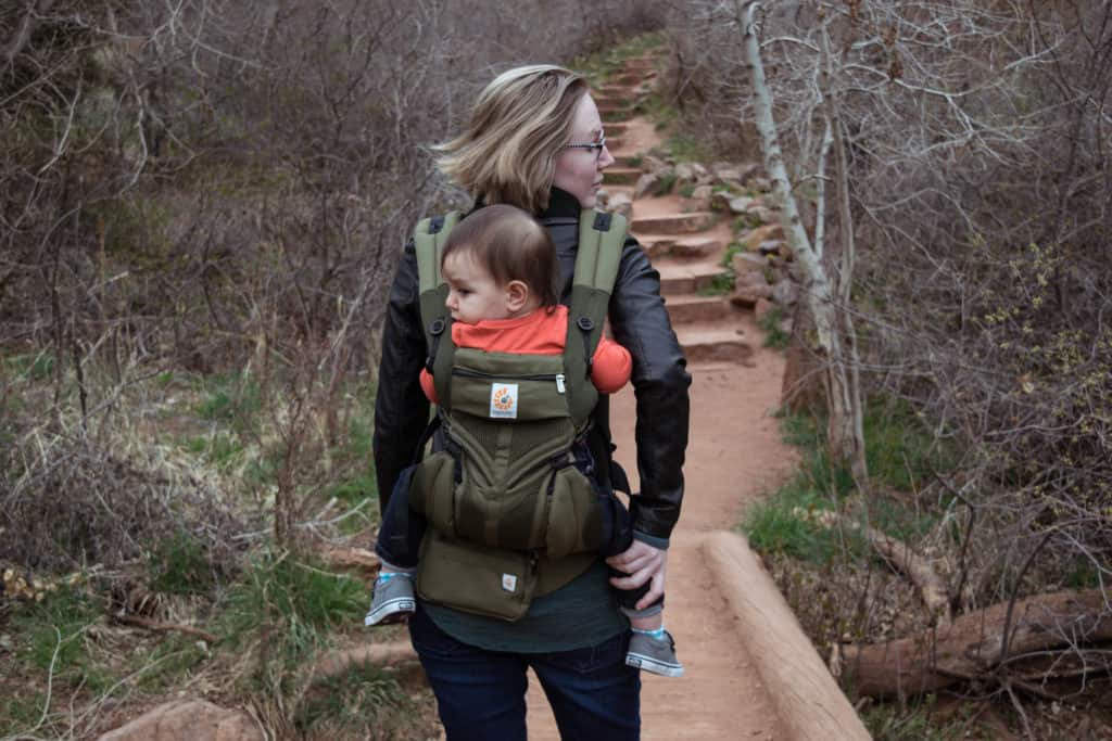 hiking while wearing toddler in ergobaby omni 360