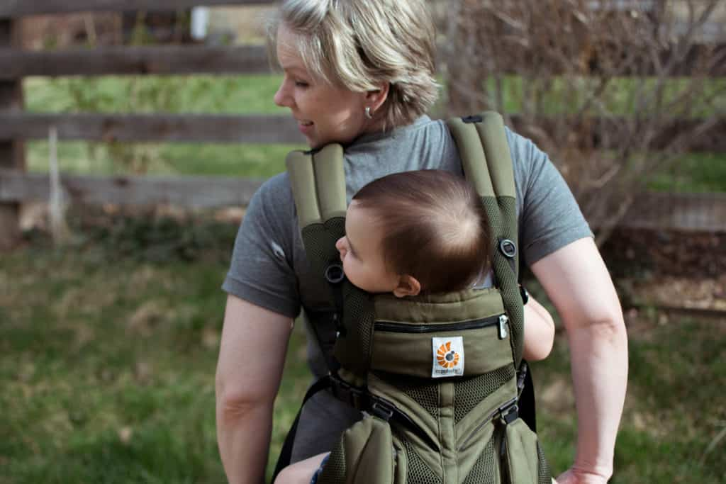 Mom wearing toddler in ergobaby omni 360