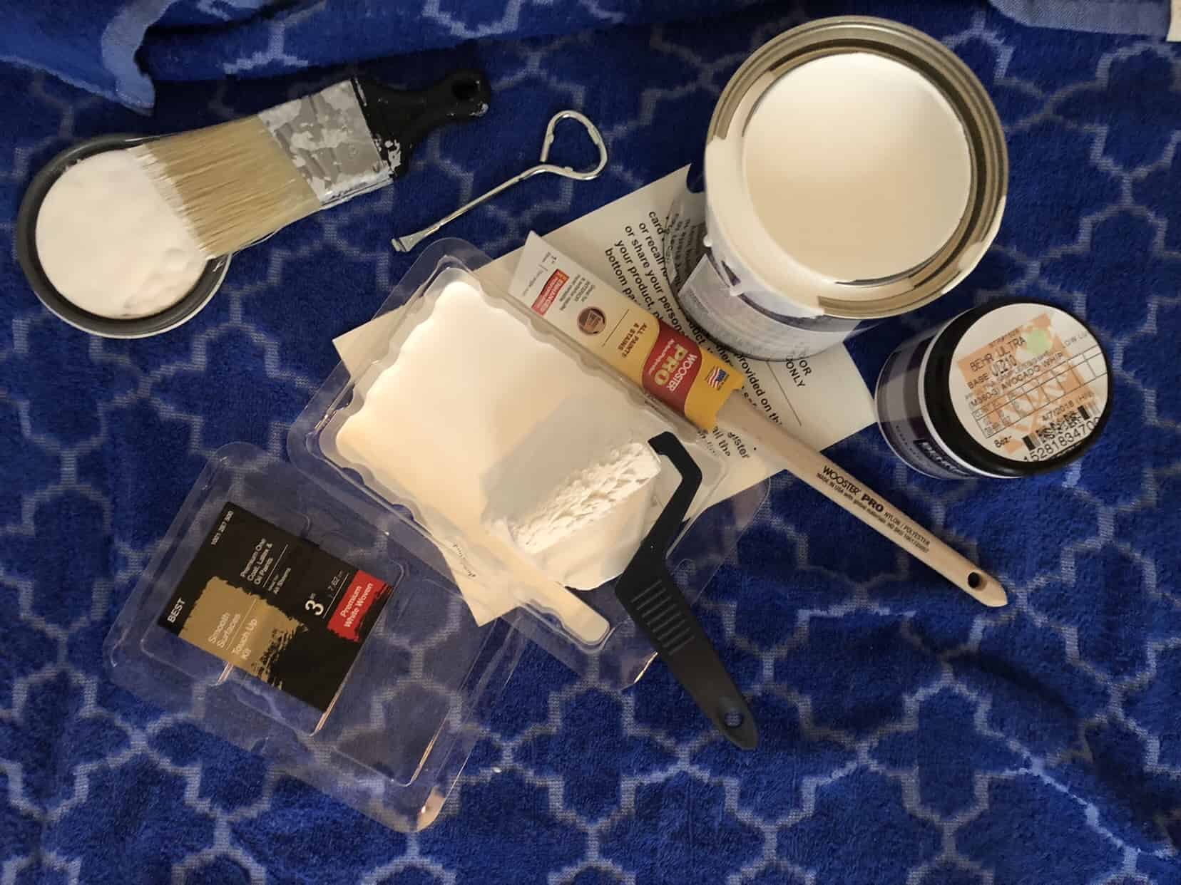 Materials from Home Depot used to paint baby nursery