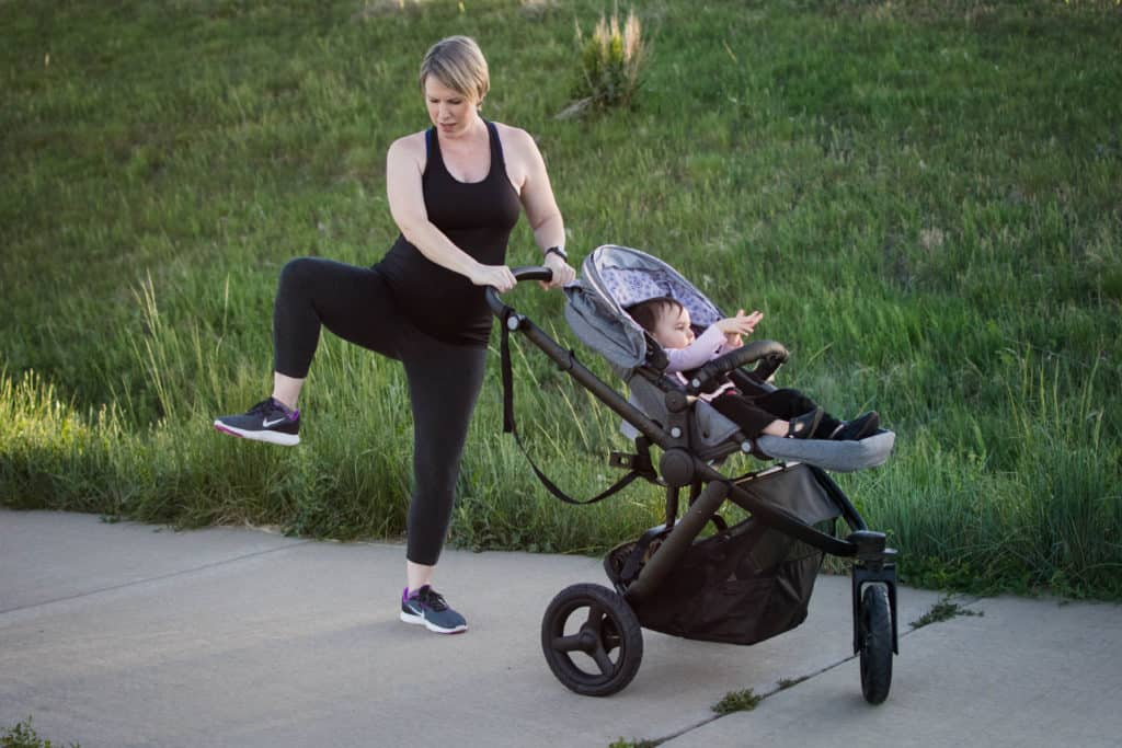 angled high knees stroller workout