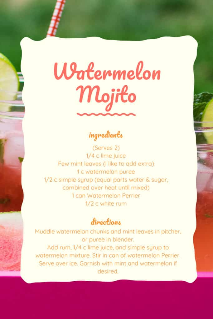 watermelon mojito recipe with perrier flavored mineral water