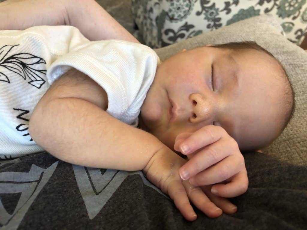 baby sleeping after breastfeeding