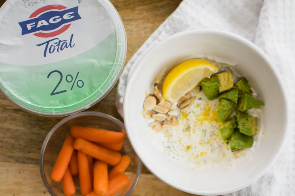 FAGE keto savory yogurt bowl recipe with avocado lemon garlic dill