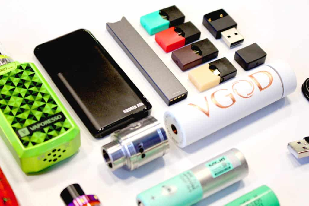 various vaping and e-cigarette equipment