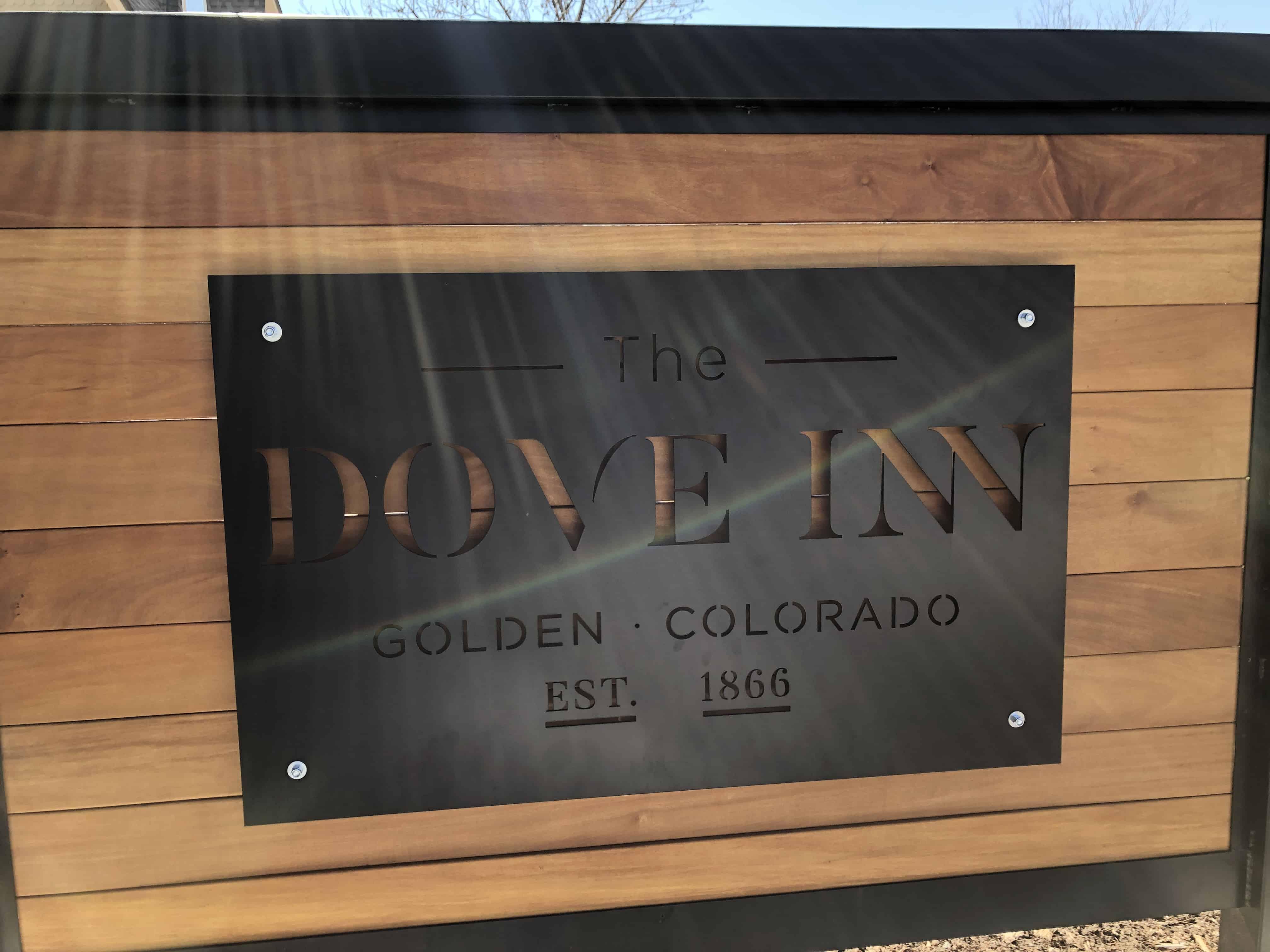 Dove Inn sign in Golden Colorado
