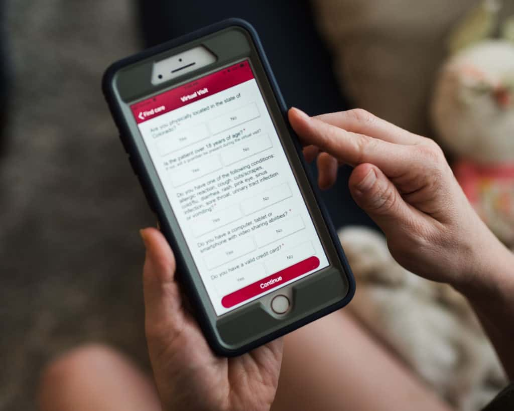 UCHealth virtual visit app on smartphone