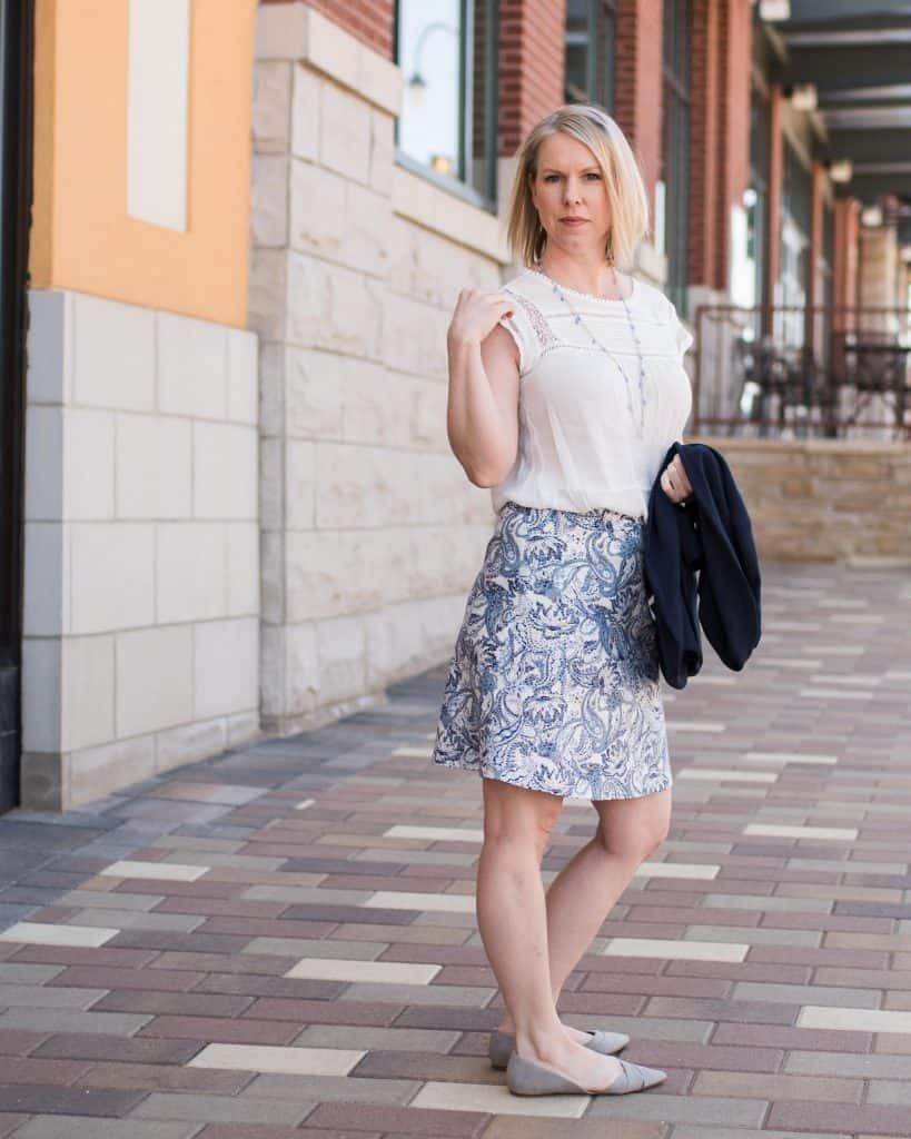 White blouse and blue skirt | Colorado lifestyle blogger, Amanda Seghetti