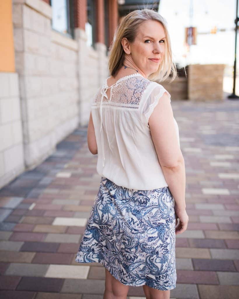 Stitch fix skirt and blouse from may 2019 full outfit