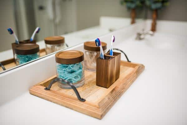 Wooden tray and master bathroom organization