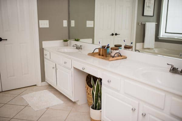 Lifestyle blogger Amanda Seghetti uses wood accents in her easy master bath remodel