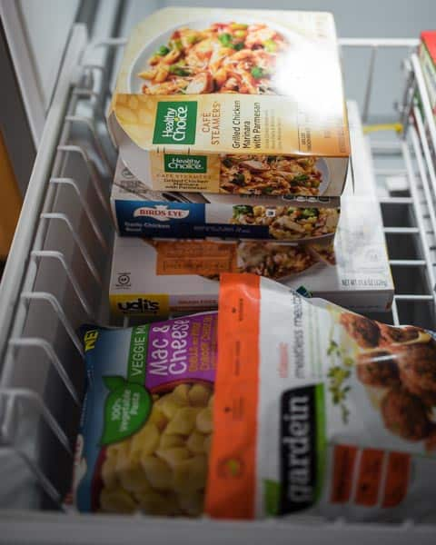 Keep easy meals stashed in a freezer drawer for easy access