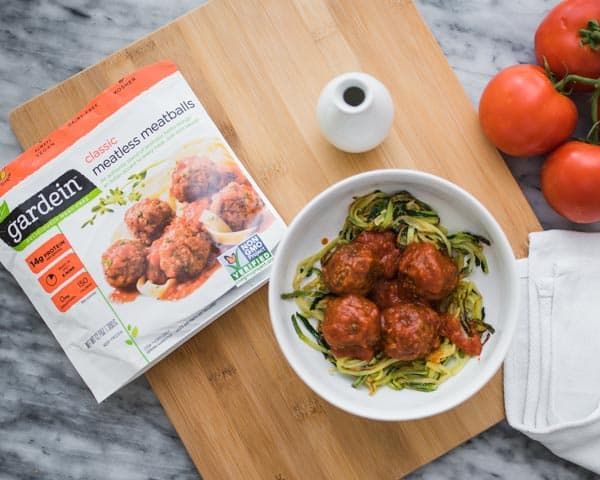 Gardein meatless meatballs and zucchini spirals