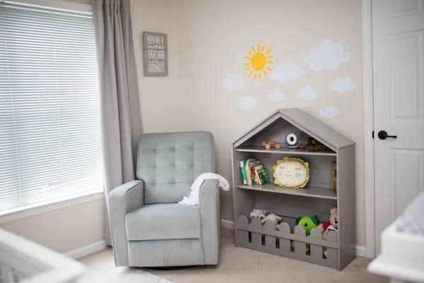 Gender Neutral Nursery makeover bookshelf and recliner