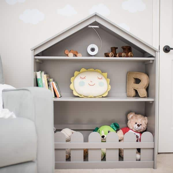 Gender neutral nursery makeover bookshelf and decor