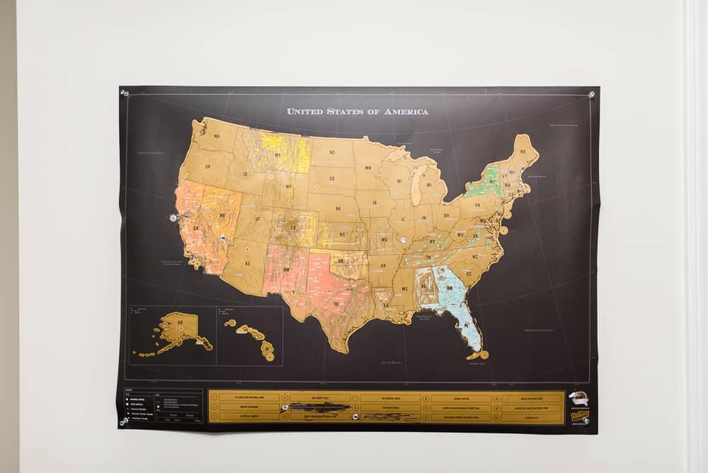 Scratch off USA map