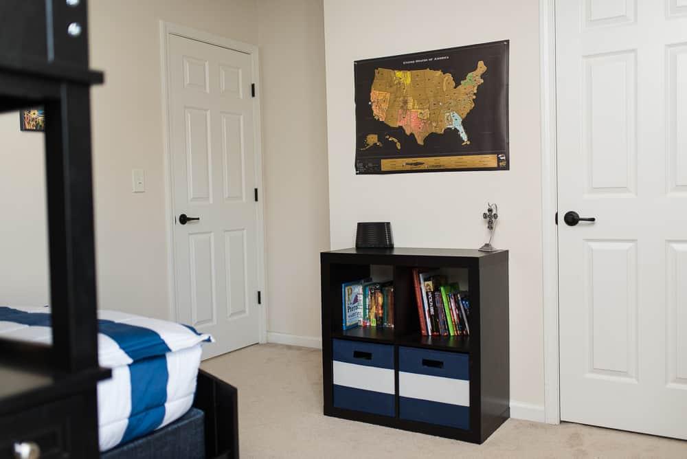 Uncommon Goods scratch off map in boys bedroom