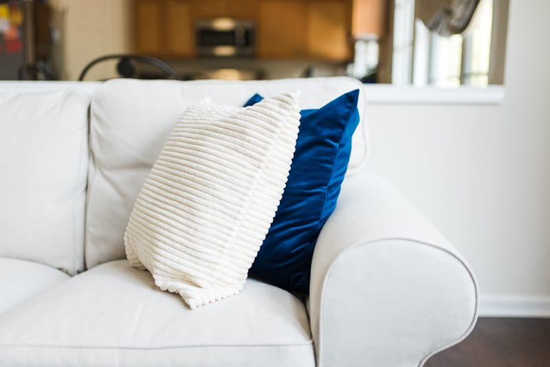 blue velvet and ivory corduroy pillow covers