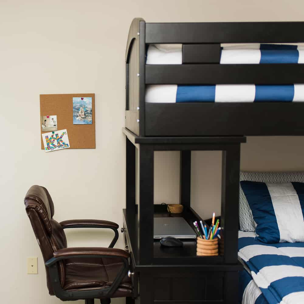 desk and study area in boys bedroom