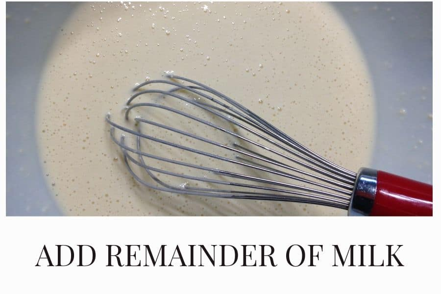 Add remainder of milk to batter and mix out any remaining lumps.