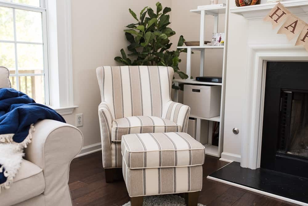 Berkeley accent chair and ottoman
