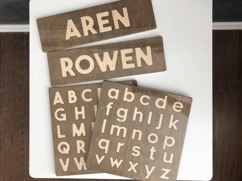 This and That Etc wooden name puzzles and alphabet puzzles