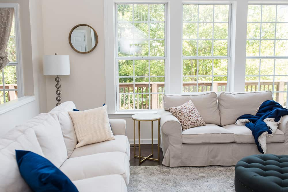Neutral living room couch and decor