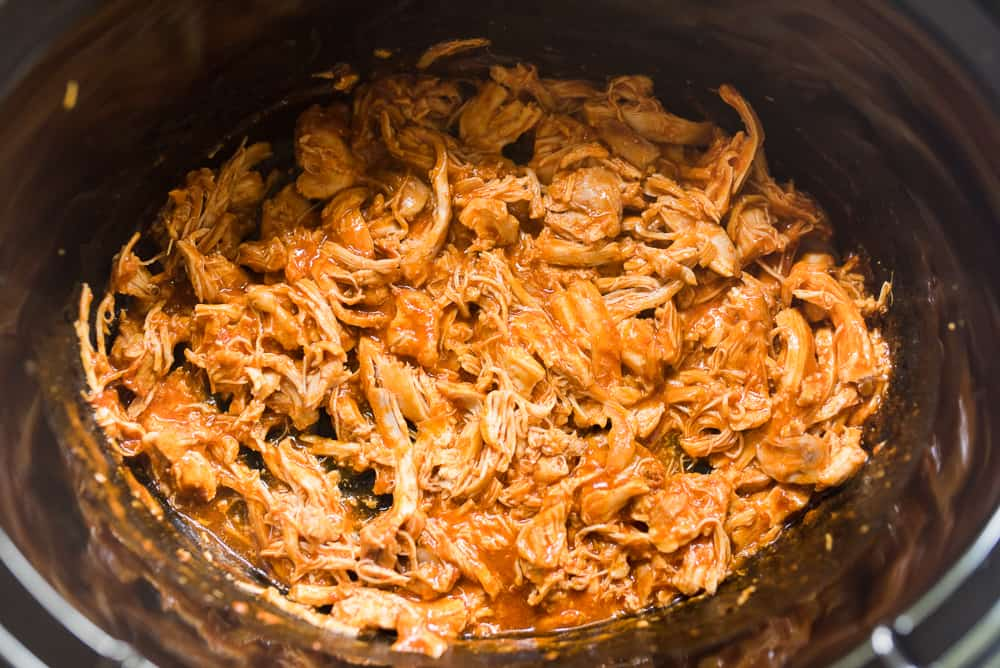 Shredded slow cooker buffalo chicken