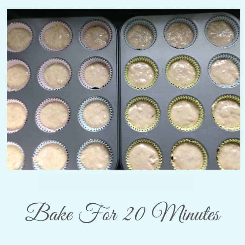 bake chocolate chip banana muffins for 20 minutes