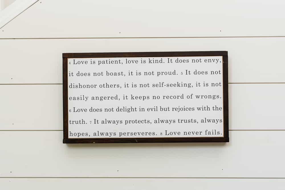 love is patient farmhouse wall decor
