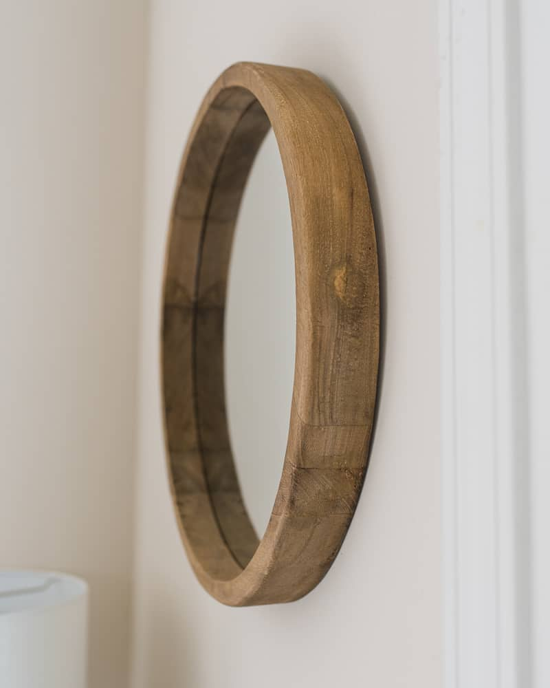 round rustic wood mirror