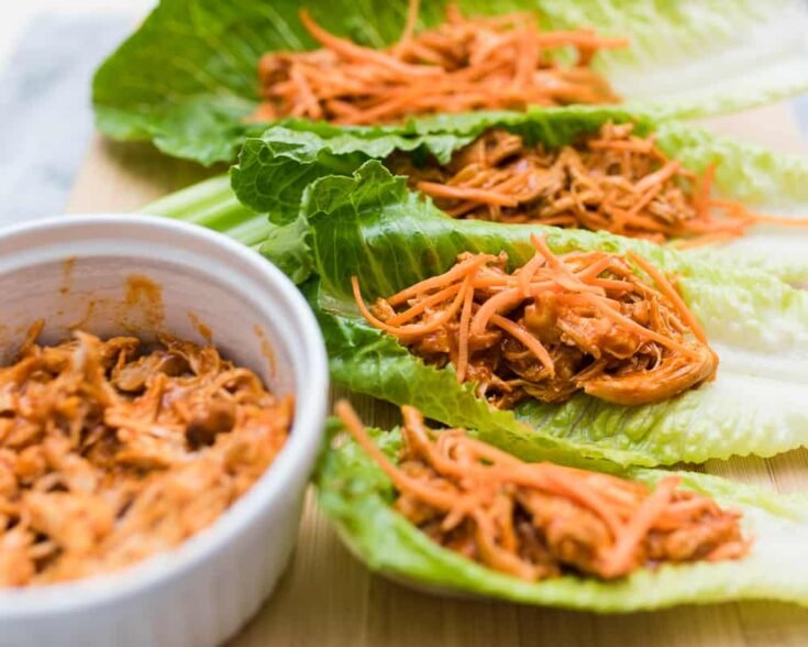 slow cooker buffalo chicken lettuce wraps with shredded carrots - Amanda Seghetti