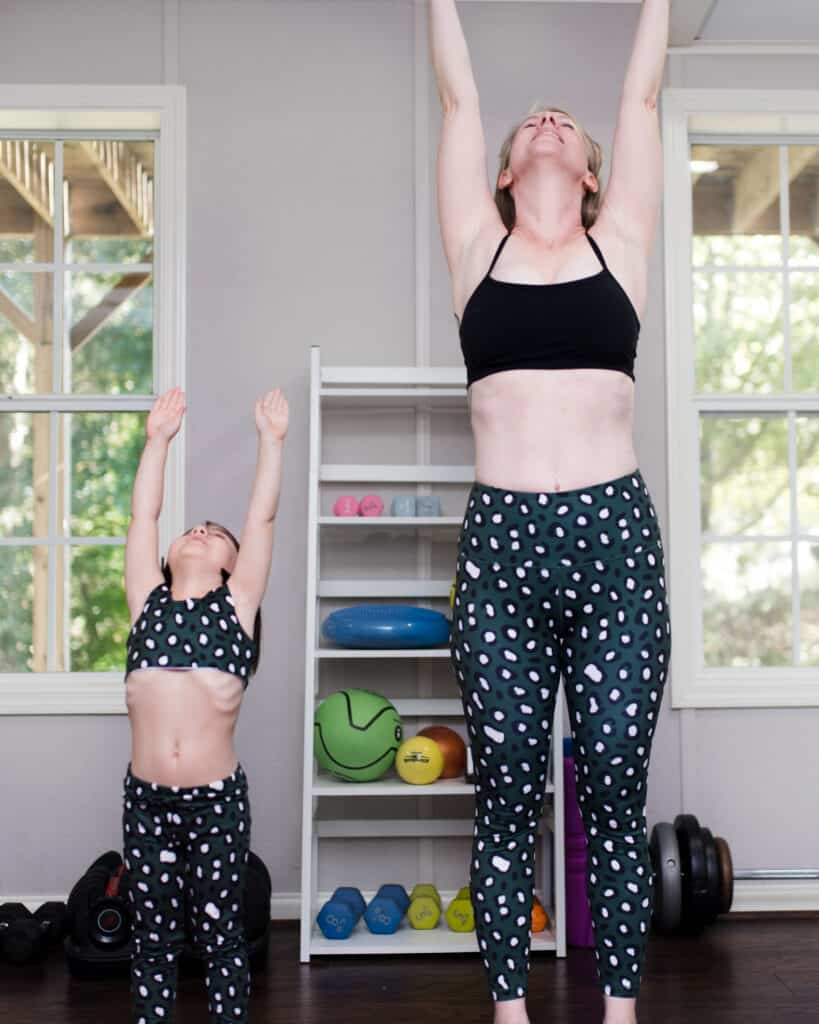Cheeky Chickadee mommy and me leggings stretching up