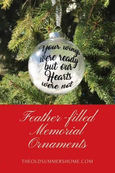 Feather Filled memorial Christmas ornaments