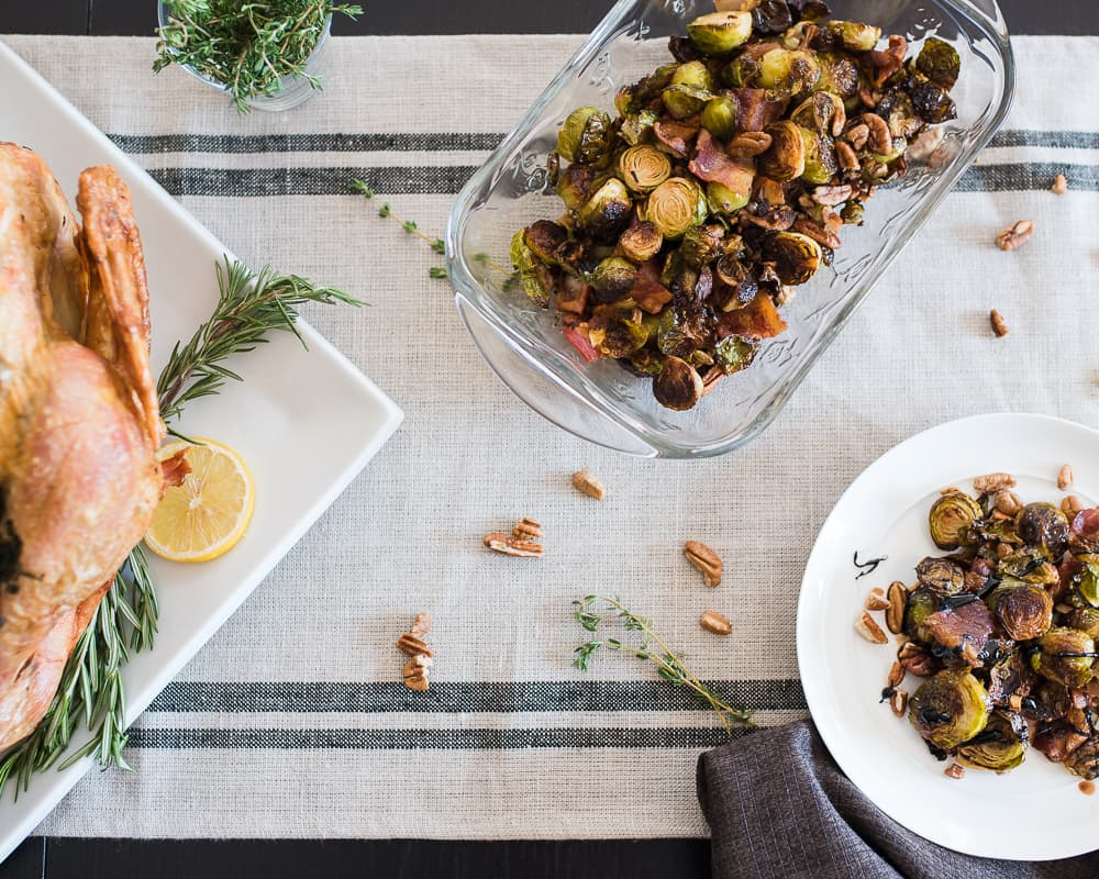 Roasted Brussels Sprouts and Pecans with Thanksgiving Turkey