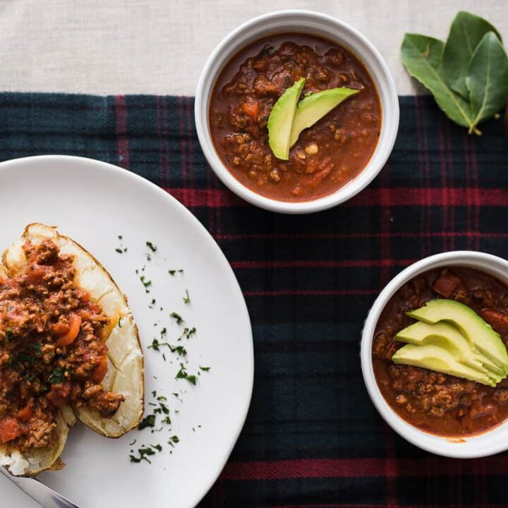 Whole30 chili with avocado and baked potato
