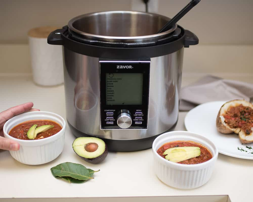 Zavor LUX LCD Multicooker with bowls of Whole30 chili