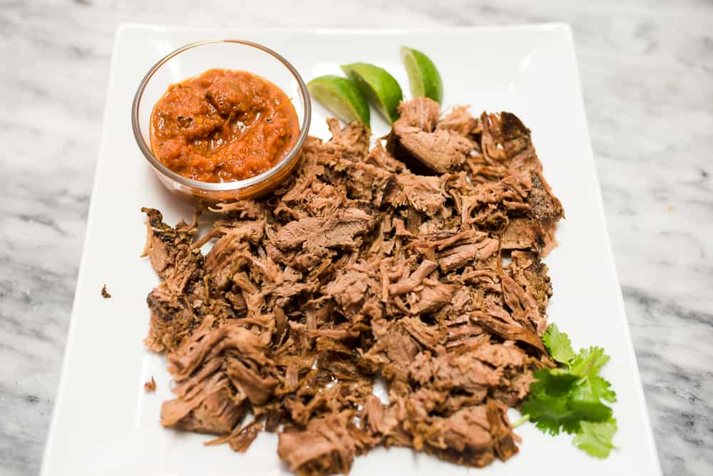 shredded flank steak with salsa lime and cilantro