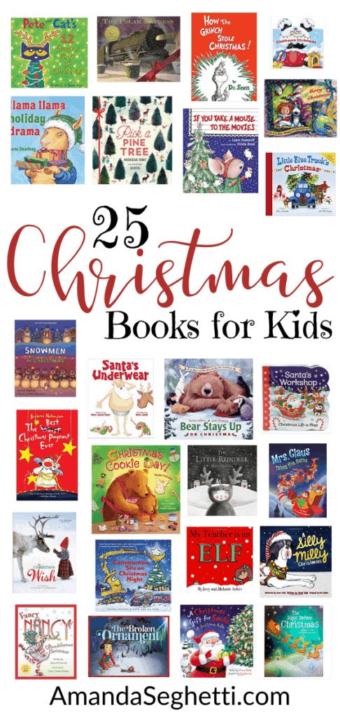 25 Christmas Books for Kids pinterest collage