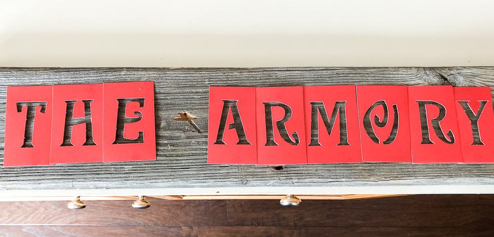 armory sign before painting